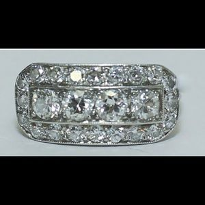 Art Deco Platinum & Diamond Ladies Cocktail Ring